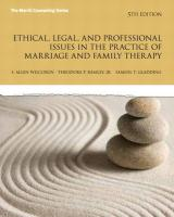 Ethical, Legal, and Professional Issues in the Practice of Marriage and Family Therapy (5th Edition) (Merrill Counseling)